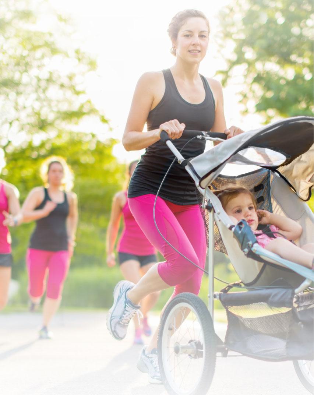Mums running with kids